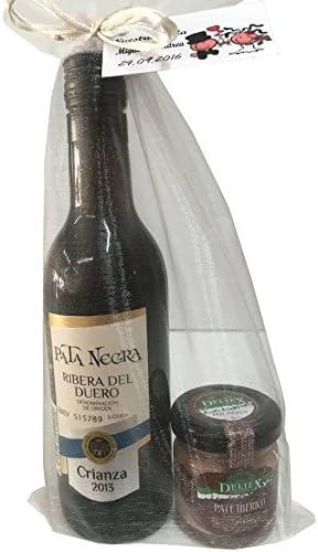 Regalo de vino Pata Negra Crianza, Denominación de Origen Ribera del Duero con tarro de paté ibérico en bolsa de organza (Pack 24 ud): Amazon.es: Hogar