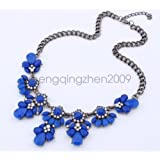 Blue - Women Bohemia style Statement Bib Pendant Flower Choker Chunky Necklace Jewelry