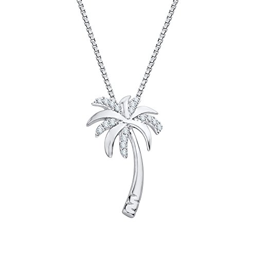 Diamond Palm Tree Pendant Necklace in 10K White Gold (1/10 cttw) (Color JK, Clarity - Gold Necklace Palm