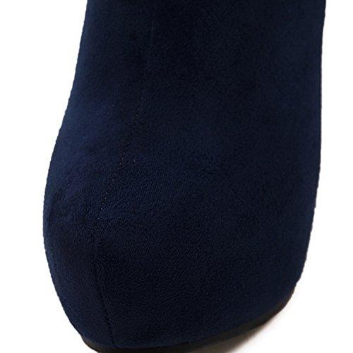 1TO9 Girls Chunky Heels Metal Ornament Platform Soft Material Boots Blue 2OGolpGJ
