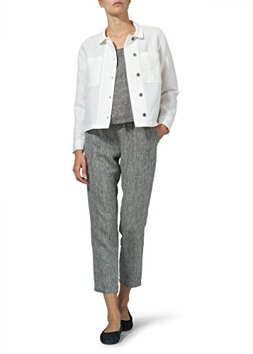 Vivid Linen Cropped Shirt Jacket with Pockets-XS-White