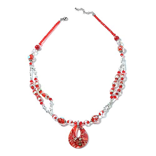 Shop LC Delivering Joy Red Murano Millefiori Glass Chroma Silvertone Pendant with Necklace for Women Jewelry Gift 28-30