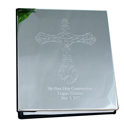 GiftsForYouNow Engraved Cross Silver Photo Album