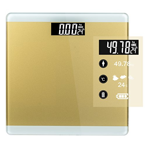 Digital Bathroom Scale,Precise Body Weight Scale,TOP-MAX 400 pounds Weight Watcher Weighing Home Scale Monitor with Step-on Technology,Large LCD Backlight Display and Low Battery Indication (Golden)
