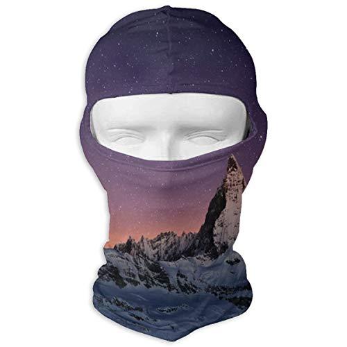 Xuforget Night Matterhorn Peak Zermatt Switzerland Galactic View European Mens & Female Balaclavas Full Face Mask Hood White