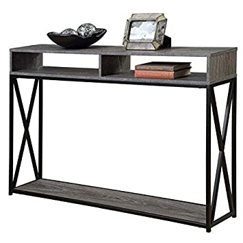 Convenience Concepts Tucson Deluxe 2-Tier Console Table, Weathered Gray Black