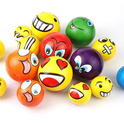 "12-Pack Foam Ball 2.5/"" Relaxable Stress Relief Squeeze Balls Akusety Mini Sports Stress Balls Rainbow Soccer Balls Fun"