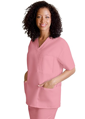 Adar Uniforms Discounted Universal Comfy 3 Pocket Unisex V-neck Tunic Top - 601 - Dusty Rose - 2X