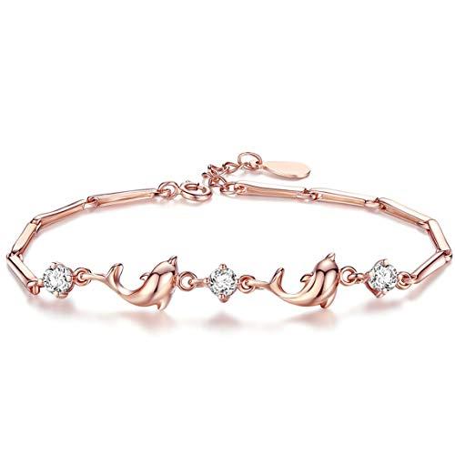 VANA JEWELRY Gold Dolphin Link Bracelet Women's Vintage Diamond Cubic Zirconia Charm Ocean Bracelet Beach Jewelry Gift for Girls Adjustable Chain Bracelet(15+3cm) Anniversary Present w/Gift ()