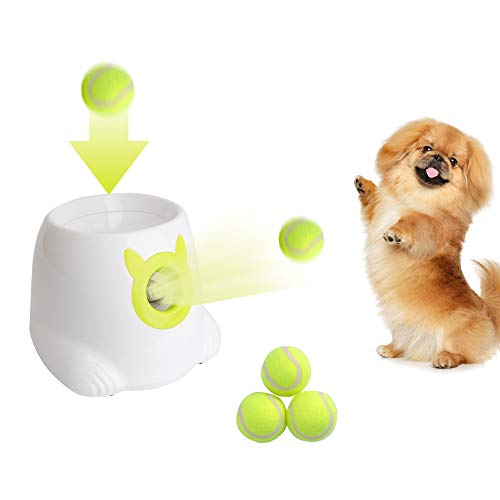 Dporticus Automatic Interactive Dog Tennis Ball Launcher Throwing Machine for Training and Playing -