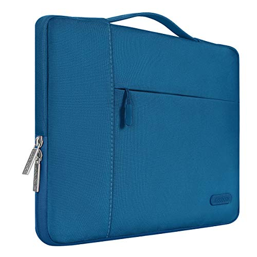MOSISO Laptop Briefcase Handbag Compatible 13-13.3 Inch MacBook Air, MacBook Pro, Notebook Computer, Polyester Multifunctional Carrying Sleeve Case Cover Bag, Lake Blue