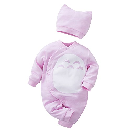 (Unisex Baby Totoro Long Sleeve Romper with Hat 2-PC Set)