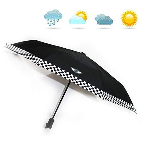 FidgetKute for Mini Cooper Black Portable Automatic Folding Umbrella Checkered 3 Foldings