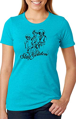 Stay Golden! Golden Girls Inspired 80's TV Two T-Sided Ladies Next Level Shirt Thank You for Being a Friend (Bondi Blue, X-Large)