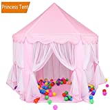 ONMIER Pink Princess Castle Kids Play Tent, Children Playhouse, Great Birthday Gifts For 1-10 Years Old Kids Toys, Indoor And Outdoor Use, Pink ( Colorful Ball Not Include)