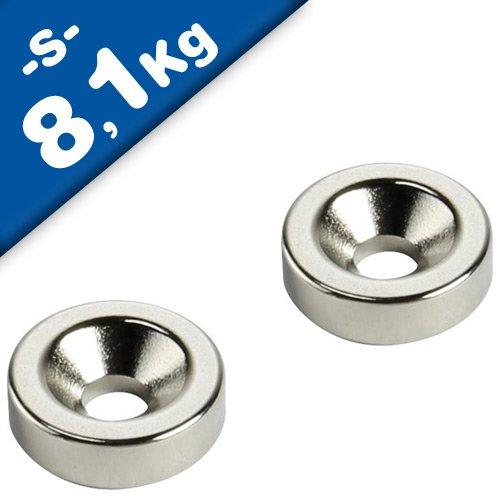 Nickel mit extremer Haftkraft f/ür Industrie und Zuhause Supermagnete S/üd Haftkraft 8,1 kg starke Magnete Ringmagnet mit Senkung /Ø 30 x /Ø 5,3 x 5mm Neodym N35