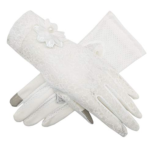 Women's Bridal Wedding Lace Gloves Derby Tea Party Gloves Victorian Gothic Costumes Gloves (Flower White)]()