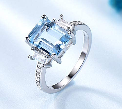 SHIJING 925 joyería de Plata de Ley Establece Azul Celeste Anillos de Piedras Preciosas Mujeres se preocupan Pendientes de Clip de Joyas de Compromiso matrimonial Femenina