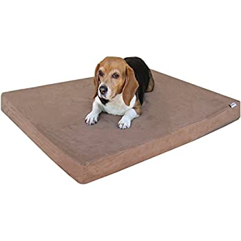 Orthopedic Small Medium Cooling Memory Foam Pet Bed, Waterproof Liner with Brown Suede Cover and Extra External Case 35X20X4 Inches