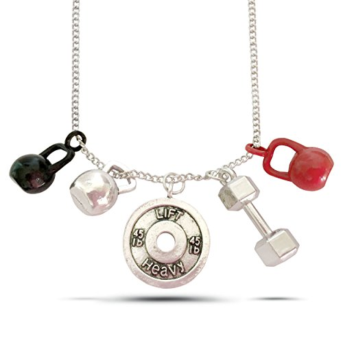 WODFitters Necklace (5 in 1) – Great Fitnesss Jewelry in Gift Box – Barbell Plate – Kettlebell – Lift Heavy Charm – Great Gift for Weight Lifting and WOD Fanatics