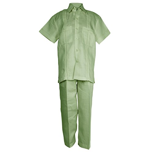 Mojito Kids Baby Boys 100% Linen Two Pocket Guayabera Shirt and Pant Set Sage ()