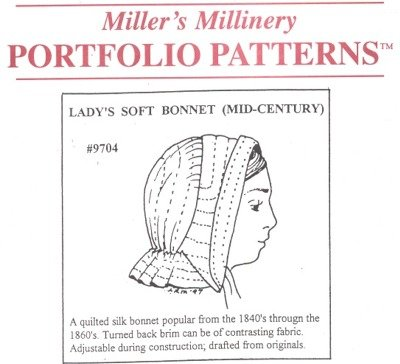Victorian Sewing Patterns- Dress, Blouse, Hat, Coat, Mens 1840s to 1870s Mid-Century Ladys Soft Bonnet Pattern $15.95 AT vintagedancer.com