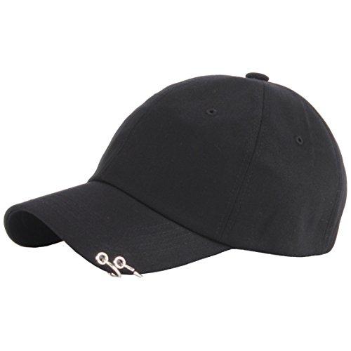 RaOn B201 Cotton Punk Silver Ring Piercing Rock Basic Ball Cap Baseball Hat Truckers (Black)
