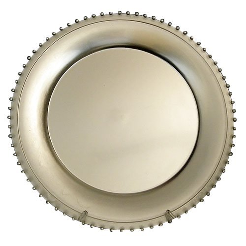Lincoln Gala Home Silver Beaded Rim Round Charger Plates,...