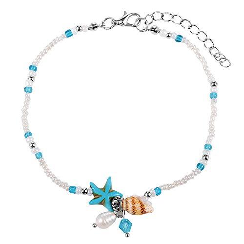 (TTPAIAI 30 Starfish Anklets Bracelet for Women Girls Beads Beach Boho Foot Jewelry (Pearl Starfish))