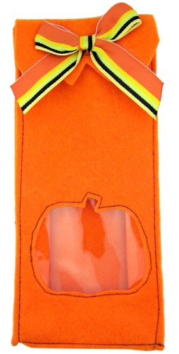 Halloween Gift Bag with Clear Jack O Lantern Pumpkin Cut Out 9