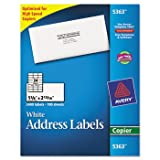 Avery Dennison Copier Label, Mailing, 1-3/8amp;quot;X2-13/16amp;quot, 2400/Box, White