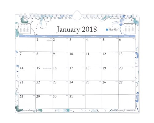 "Blue Sky 2018 Wall Calendar, Twin-Wire Binding, 11"" x 8.75"", Lindley"