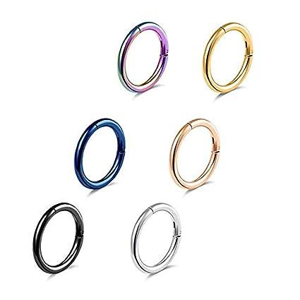 Amazon.com: SUSHARE - Juego de 6 anillos de nariz de acero ...