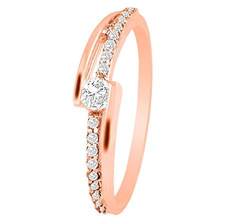 Or Blanc 9Ct Bague Diamant, 0.2Ct Diamant (GH Couleur, P1 La clarté)