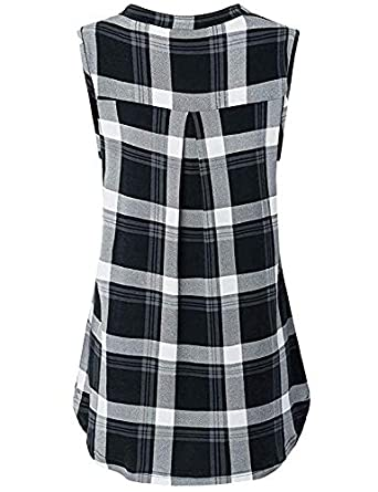 Cyanstyle Womens V Neck Zip Up Casual Tank Top Flaps at Chest Sleeveless Tunic