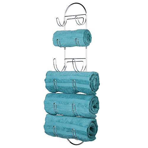 mDesign Wall Mount Metal Wire Towel Storage Shelf Organizer Rack Holder with 6 Compartments, Shelves for Bathroom Towels - Chrome