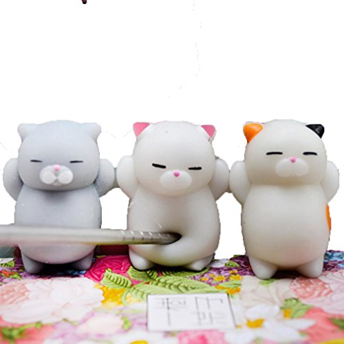 3PC Cute Mochi Cat Hot Sale Funny Stress Reliever Toys ,Usstore Kid Boys Girls baby Extra Soft Squishy Relaxing Decompression Squeeze Slow Rising Prime Healing