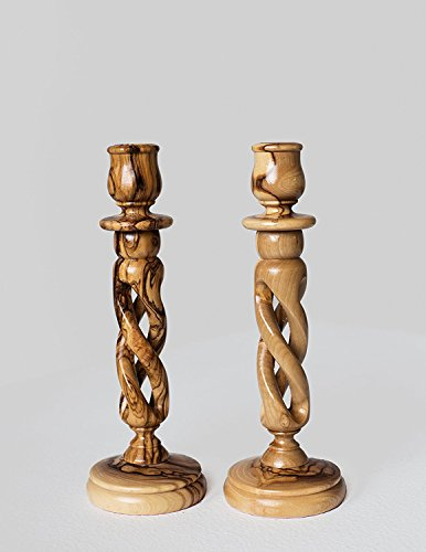 Pair of Olive Wood Hollow Twist Candle Holders by Bethlehem Gifts TM