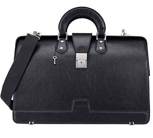 - Ronts Lawyer's PU Leather Briefcase 15.6 Inch Laptop Bag Shoulder Bag Attach Case for Men Women,Black