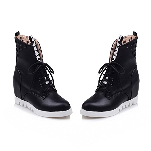 Low Material Closed Boots Women's AgooLar High Heels Color Soft Assorted Black Toe top Round q7xq0wS8