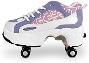 Amazon Com 1999gifts Roller Shoes Retractable 4 Wheels Purple And White Sports Outdoors
