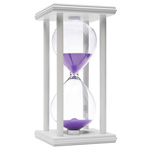 Cheap  60 Minutes Hourglass, iPhyhe One Hour Sand Timer with White Wooden Frame..
