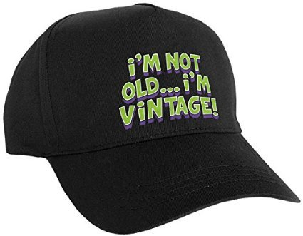 Hill Old Print (Amscan The Party Continuous Adult Birthday Party I'M Not Old, I'm Vintage Print Slick Black Hat Novelties, Black, 9
