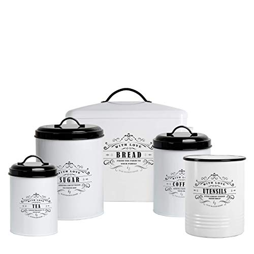 Baie Maison Extra Large White Farmhouse Bread Box for Kitchen Countertop – with Matching Large Kitchen Canisters Set of…