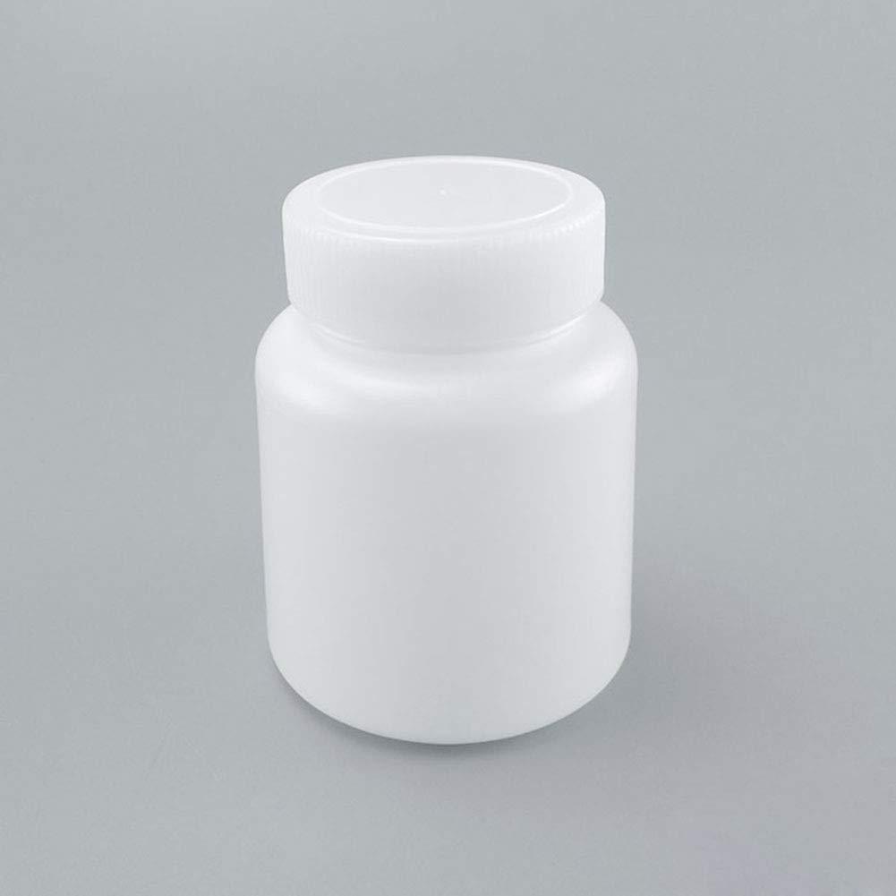 5Pcs 500ml Plastic Wide Mouth Cylindrical Laboratory Reagent Bottle Sealling Bottle White