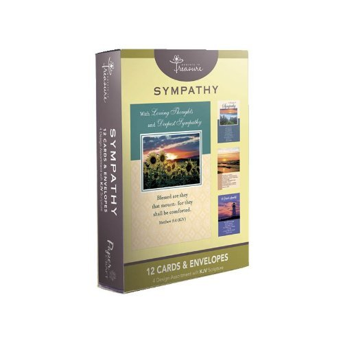 12 Pack Boxed Set Landscape Sympathy Cards, Bulk with KJV Scripture – Lighthouse, Tree, Water Greeting Cards for Her for Him