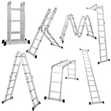 Giantex 12.5FT Multi Purpose Folding Step Ladder Platform Extendable Scaffold Ladder EN131 Aluminum 7 in 1 Extension Step Lightweight 330LB