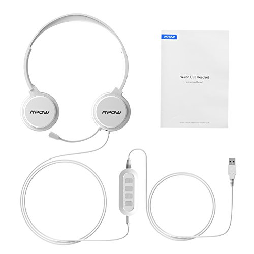Mpow 071 USB Headset/3.5mm Computer Headset with Microphone Noise Cancelling, Lightweight PC Headset Wired Headphones, Business Headset for Skype, Webinar, Phone, Call Center