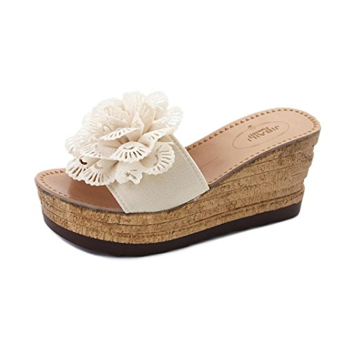 De Chaussures Fleurs Plateforme Pantoufles Wedges Hauts Femme Compensees Beige Oyedens À Femmes Plage Talons Plates Sandales 7nqO4