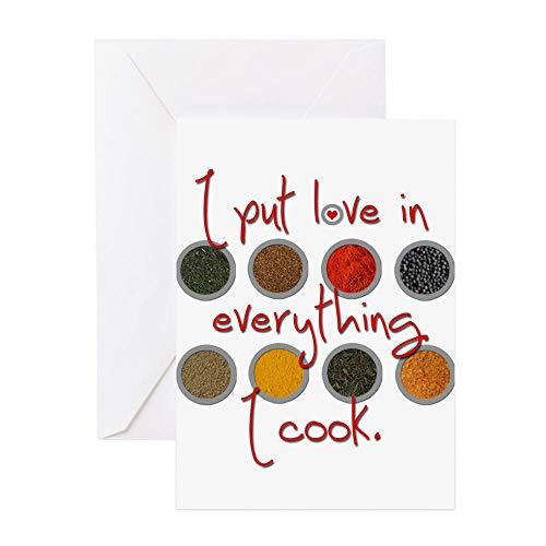CafePress I Put Love In Everything I Cook Greeting Card, Note Card, Birthday Card, Blank Inside Matte